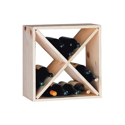 Country Pine Cube 24 Bottle Floor Wine Rack
