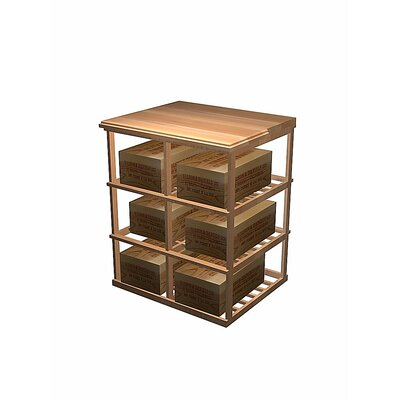 Designer Series 6 Case Double Deep 60 Bottle Floor Wine Rack Wood Type: Rustic Pine, Finish: Midnight Black