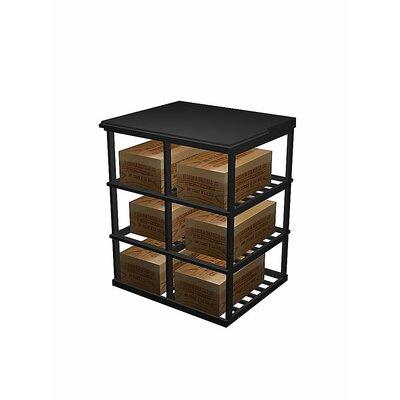 Designer Series 6 Case Double Deep 60 Bottle Floor Wine Rack Wood Type: Prime Mahogany, Finish: Midnight Black
