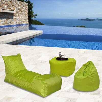 Summer Days 3 Piece Bean Bag Set Upholstery: Chartreuse