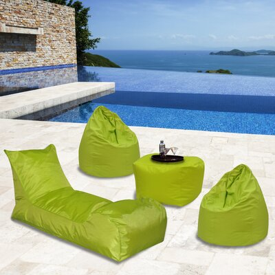 Summer Days 4 Piece Bean Bag Set Upholstery: Chartreuse