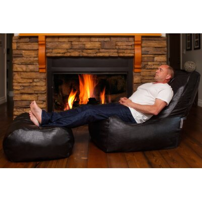 Zen Bean Bag Set Upholstery: Black