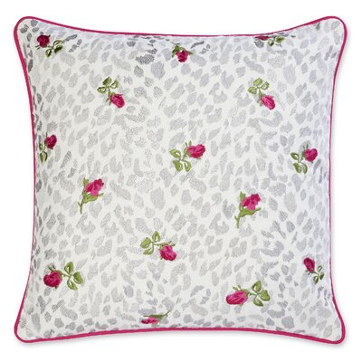 Polished Punk Rose Embroidered Throw Pillow