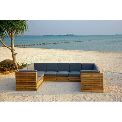 Seaside 9 Piece Seating Group with Cushion Fabric: Charcoal