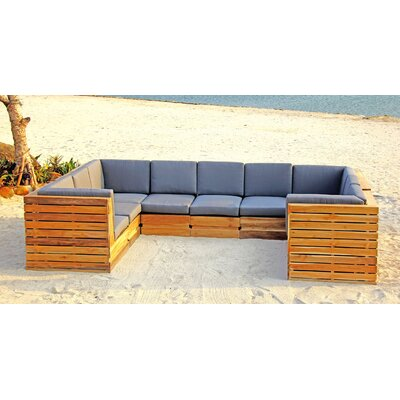 Seaside 9 Piece Seating Group with Cushion Fabric: Sangria