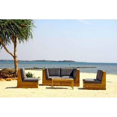 Seaside 5 Piece Teak Deep Seating Group Fabric: Indigo