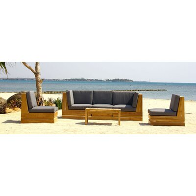 Seaside 5 Piece Deep Seating Group with Cushion Fabric: Ginko