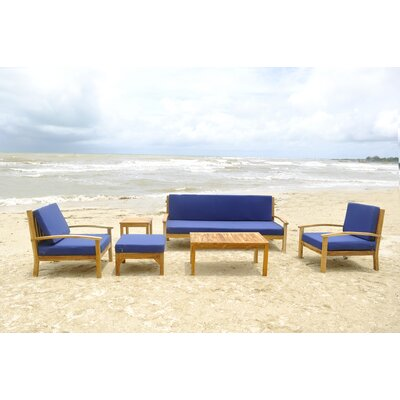 Waterford Teak 5 Piece Deep Seating Group Fabric: Air Blue