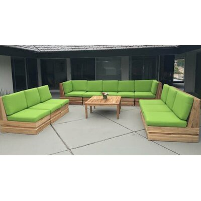 Seaside Teak Canvas Sunbrella Sectional Seating Group with Cushion Finish: Air Blue