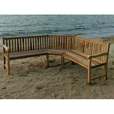 Teak Outdoor Sectional Bench Seating Group with Cushion Cushion Color: Flax