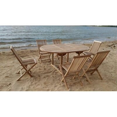 7 Piece Dining Set with Cushions Cushion Color: Ginko