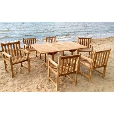 Waterford 7 Piece Dining Set with Cushions Cushion Color: Indigo