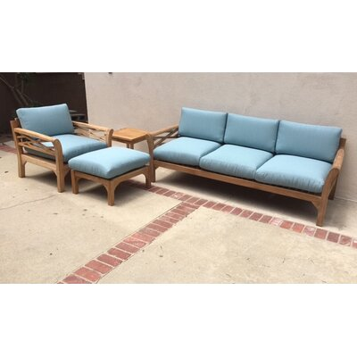 Malibu 4 Piece Deep Seating Group with Cushion Fabric: Air Blue