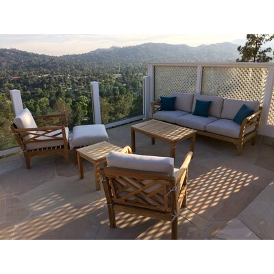 Malibu Outdoor 6 Piece Deep Seating Group with Cushion Fabric: Indigo