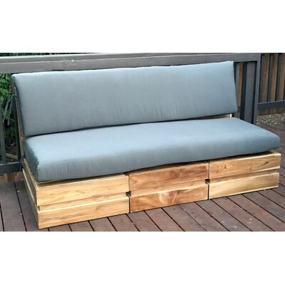 Seaside Modular 3 Piece Deep Seating Group with Cushion Fabric: Charcoal