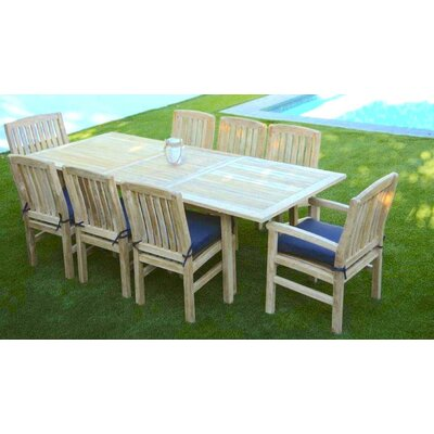 Waterford 9 Piece Dining Set with Cushion Cushion Color: Indigo
