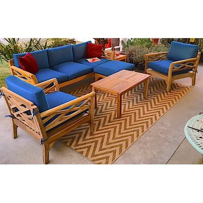 Malibu 6 Piece Deep Seating Group with Cushion Fabric: Cocoa