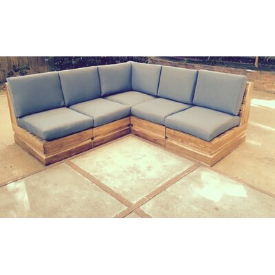 Seaside 5 Piece Deep Seating Group with Cushion Fabric: Air Blue