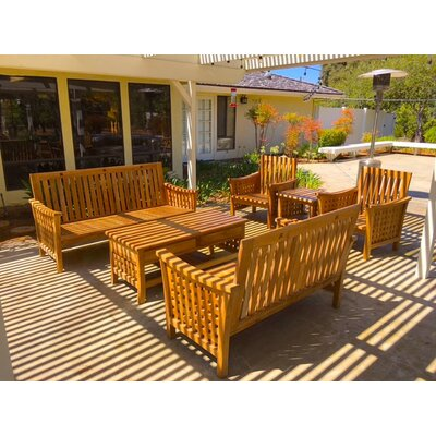 Teak Outdoor Patio Furniture 6 Piece Deep Seating Group with Cushion Fabric: Granite
