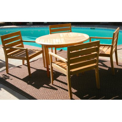 Borneo 5 Piece Dining Set with Cushions Cushion Color: Flax