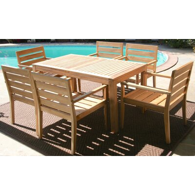Waterford 7 Piece Dining Set with Cushions Cushion Color: Natural