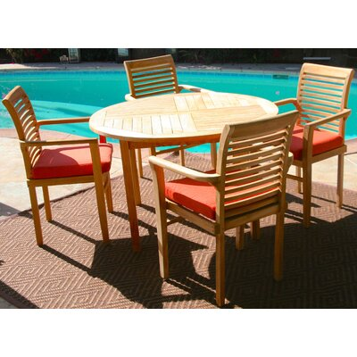 5 Piece Dining Set with Cushions Cushion Color: Brick