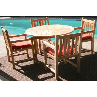 Waterford 5 Piece Dining Set with Cushions Cushion Color: Cocoa