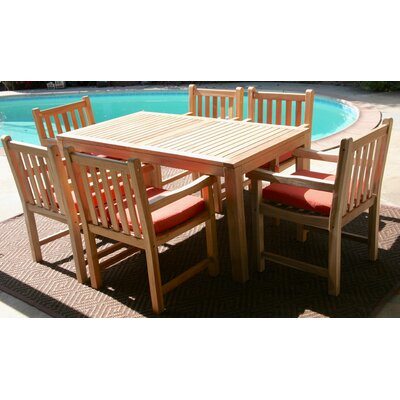 Caracas 7 Piece Dining Set with Cushion Cushion Color: Natural