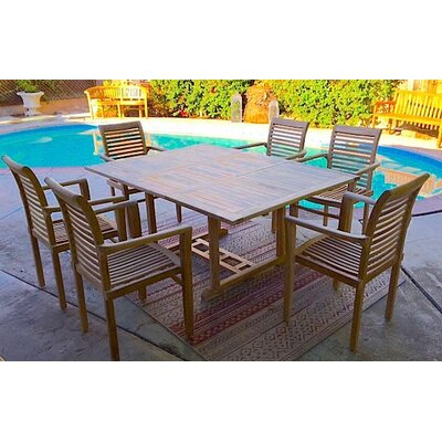 7 Piece Dining Set with Cushions Cushion Color: Flax
