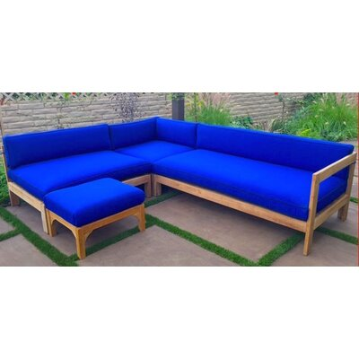 Manhattan 4 Piece Deep Seating Group with Cushion Fabric: Flax