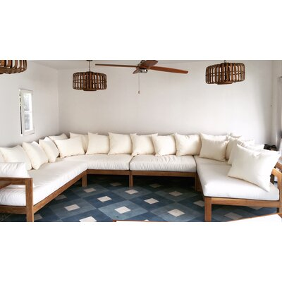 Manhattan Teak Sunbrella Sectional Set Cushions Fabric True - Product photo
