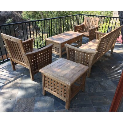 Teak 5 Piece Deep Seating Group with Cushion Fabric: Black