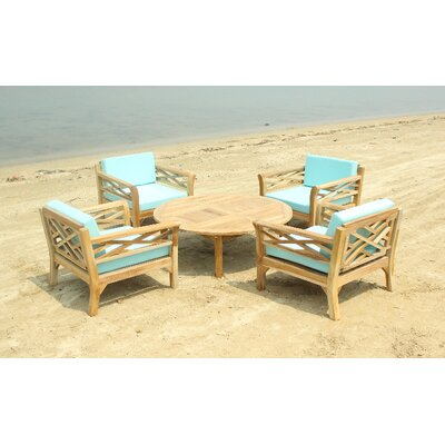Malibu 5 Piece Deep Seating Group with Cushion Fabric: Charcoal