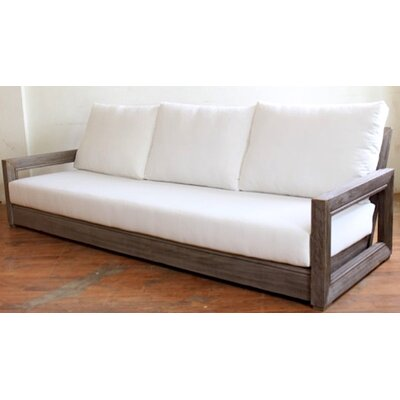 Constance Teak Outdoor Patio Sofa with Cushions Fabric: Brick