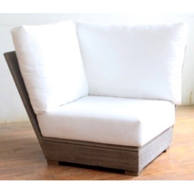 Constance Teak Outdoor Sectional Corner Chair with Cushion Fabric: Cocoa
