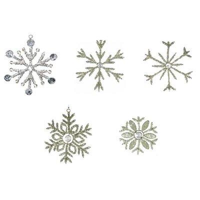 Christmas 5 Piece Beaded Glass Snowflakes Christmas Ornament Set RS1004