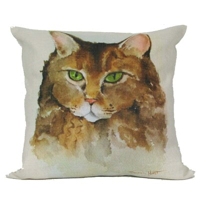 Cat with Green Eyes Pillow Cover