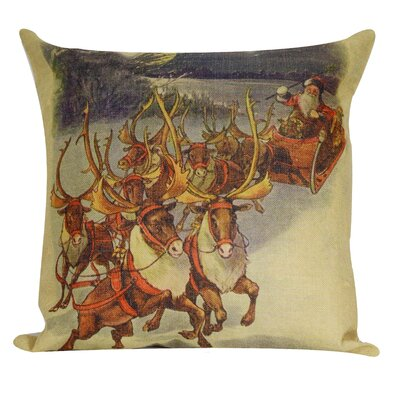 Santa with Reindeer Throw Pillow