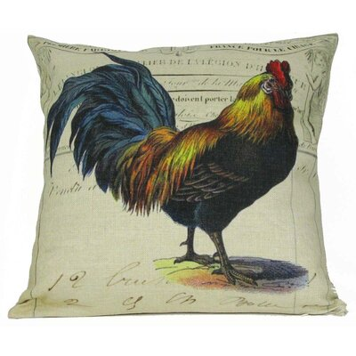 Blue Tail Rooster Throw Pillow
