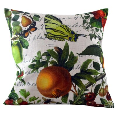 Butterfly and Fruit Throw Pillow Cover