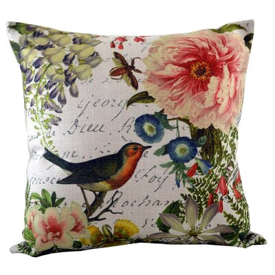 Bird Floral Insert Throw Pillow