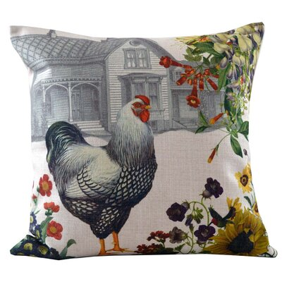 Hen and Farmhouse Insert Throw Pillow
