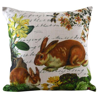 Bunny and Dragonfly Insert Throw Pillow