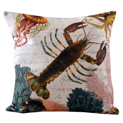 Lobster and Coral Insert Throw Pillow