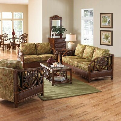 Hospitality Rattan Cancun Palm Upholstered Rattan 5 Piece Deep Seating Group - Color: Beige at Sears.com