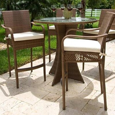 Hospitality Rattan Grenada Patio Barstool with Cushion (2 Pieces) - Fabric: Linen Silver