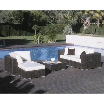 Soho 5 Piece Deep Seating Sectional with Cushions Fabric: Dupione Palm