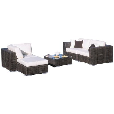 Hospitality Rattan Soho 5 Piece Deep Seating Sectional with Cushions - Fabric: Cabaret Blue Haze
