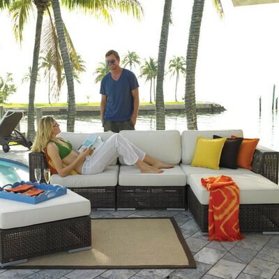 Soho 5 Piece Deep Seating Group with Cushion Fabric: Dupione Bamboo