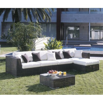 Soho 6 Piece Deep Seating Group with Cushions Fabric: Canvas Black